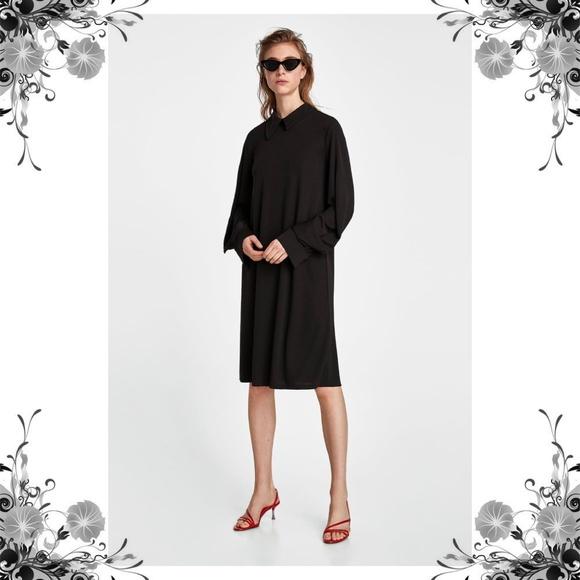 a41ade39 Zara Dresses | Bnwt Black Dress With Asymmetric Collar | Poshmark